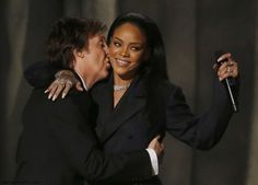 """Paul McCartney and Rihanna during the performance of their hit song """"FourFiveSeconds"""" at 2015 Grammy Awards."""