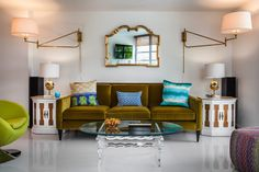 miami contemporary living room ideas with linen sofas and modern vibe