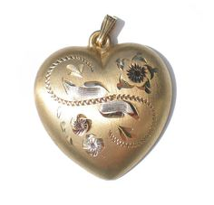 Gold Heart Pendant 14k Gold Filled Floral Etched Sweetheart