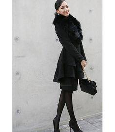 Cheap Wholesale Slim Fit Faux Fur Turndown Collar Large Hem Women's Coat (CAMEL,XL) At Price 21.30 - DressLily.com