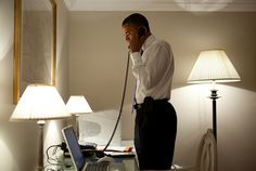 Barack Obama talking on the phone to the Governor of Missouri during his trip to Dublin (May 2011).