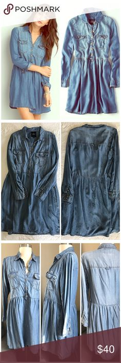 🆕 Listing! American Eagle Denim Shirtdress New Listing! American Eagle Denim Shirtdress. Very comfortable material. Pockets!!! A wardrobe staple. Excellent condition. Measurements upon request. American Eagle Outfitters Dresses