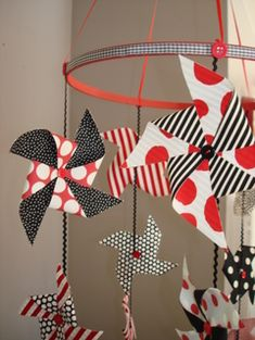 Pinwheel Mobile - Such a lovely, simple idea.