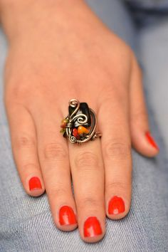Wire Wrapped ring with Black Onyx gemstone, adjustable copper wire ring, wire wrapped jewelry handmade, unique wrap ring for Mother's day