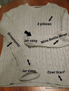 UPcycled Cable Knit Sweater into 5 different recycled craft projects