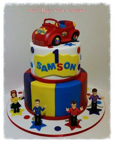 The Wiggles 1st Birthday cake with Big Red Car cake topper www.facebook.com/icedmagiccreations