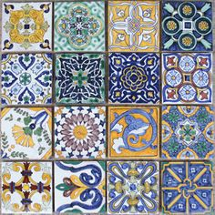 100MM Portuguese Spanish traditional tiles from Portugal Bicesse Tiles Portuguese Artistic Ceramic Tiles Azulejo Traditional Antique Style Handmade Painted Clay 100mm x 100mm x 8mm each tile