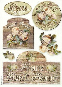 Rice Paper for Decoupage Decopatch Scrapbook Craft Sheet Sweet Home Small Decoupage Vintage, Vintage Diy, Vintage Labels, Vintage Cards, Vintage Paper Crafts, Printable Vintage, Vintage Pictures, Vintage Images, Rice Paper Decoupage