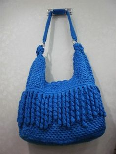 Handmade Crochet lady bag Medium fashion handbag tote durable blue bag ... www.artfire.com