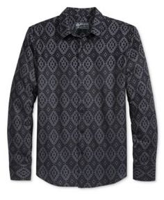 American Rag Men's Fair Isle Flannel Shirt, Only at Macy's - Black M