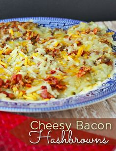 This is a delicious Cheesy Bacon Hashbrowns Recipe! If you love hash browns, bacon and cheese, trust me this will be a HUGE hit for breakfast! #bacon #hashbrowns