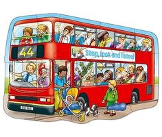 ♥ Orchard Toys Big Bus Vehicle Jigsaw Puzzle 15 Pcs - Educational Boy Toy Gift ♥