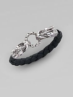 John Hardy Sterling Silver and Woven Leather Dragon Bracelet/Black