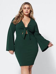 6103664ff2e2 Bryttani Tie-Front Dress. Plus Size Bryttani Tie-Front Dress - Fashion To  Figure