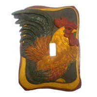 You can tell this hand-painted, sculptured rooster switch cover was designed by an artist as the colors and look of the rooster is very life-like. Bistro Kitchen Decor, Rooster Kitchen Decor, Rooster Decor, Home Decor Kitchen, Kitchen Ideas, Kitchen Stuff, Red Kitchen, Kitchen Design, French Decor