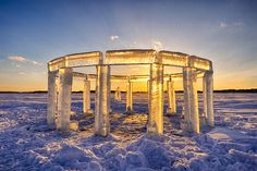 A group of five Wisconsin men recently built a beautiful ice sculpture of Stonehenge on a frozen lake near the small town of Lake Mills. The sculpture, entitled Icehenge, was built of ice blocks th...