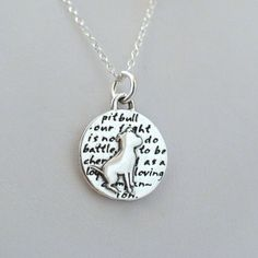 FashionJunkie4Life - Pit Bull Necklace - 950 Sterling Silver Pit Bull Charm. 15% of the proceeds will be donated to Best Friends Non-Profit Organization to help re-habilitate Pit Bulls