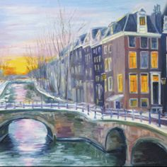 Good Morning, Amsterdam, 2017 Fabulous artwork of morning Amsterdam by Yulia Jeltuhin will help you to create taste in your interior. Giclee x Amsterdam Canals, Amsterdam City, Modern Art, Contemporary, Hyperrealism, Christmas Art, Landscape Paintings, Giclee Print, Art Gallery