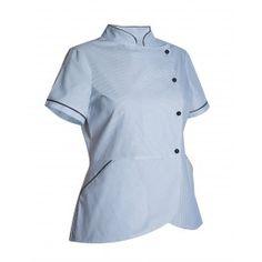 Chaqueta sanitaria de mujer cuello Mao cierre lateral - Monza Chef Jackets, Fashion, Models, Work Uniforms, Work Wear, Sewing Patterns, Jackets, Women, Moda