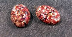 VINTAGE Harlequin OPAL Glass Cabochons Two 2 13mm x by punksrus, $4.50