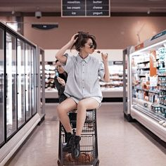BRB, making a total stranger take this photo of us in our local grocery store.