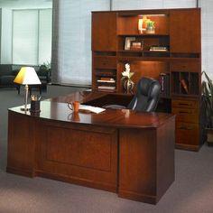 Mayline Sorrento Series U-Shape Executive Desk with Hutch Finish: Bourbon Cherry Veneer, Orientation: