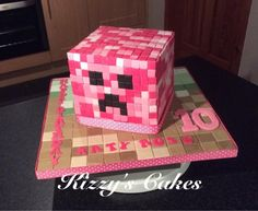 Minecraft Pink Creeper Cake by Kizzy's Cakes