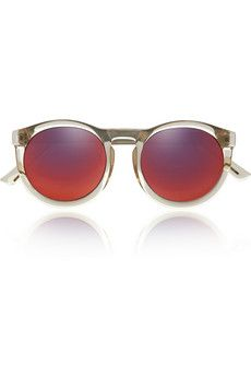 Le Specs Cheshire round-frame acetate mirrored sunglasses  | NET-A-PORTER