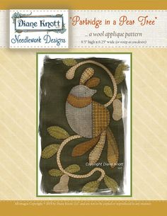 A Partridge in A Pear Tree Wool Applique Pattern by DianeKnottLLC