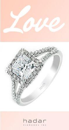 Split-Shank Halo Engagement Rings by HadarDiamonds.com . Split-shank princess or radiant cut diamond halo engagement ring setting.  Made in Southern California with Love.