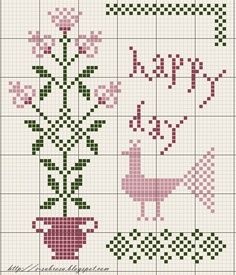 Free primitive Cross Stitch Patterns | happy day freebie from subrosa blogspot
