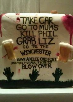 Bloody and bitten-flesh Shaun of the Dead cake. Too gross looking to eat , but it's all deliciously edible! So we win.   https://m.facebook.com/profile.php?id=719667371442136