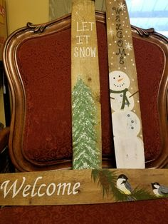 Hand painted. Winter signs. On barrel staves.
