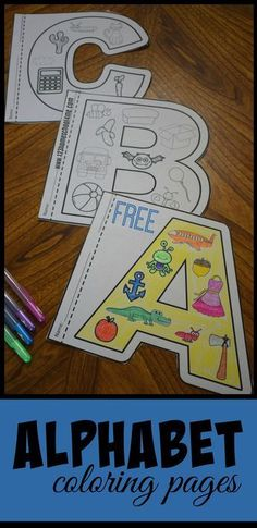 FREE Alphabet Coloring Pages - this are such fun to color alphabet worksheets that help kids not only learn their letters but the sounds they make. You can use them with a letter of the week curriculum, as anchor charte, summer learning, alphabet posters, Preschool Literacy, Preschool Letters, Learning Letters, In Kindergarten, Preschool Crafts, Kids Learning, Kindergarten Worksheets, Preschool Worksheets Alphabet, Free Alphabet Printables