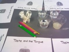 Tongue testing and cornstarch slime making!  Ewww...