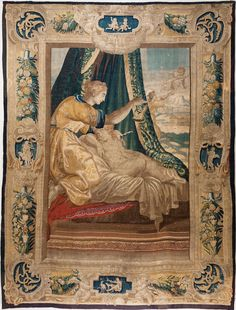 'PSYCHE AWAKING CUPID' large 17th century tapestry from Julia Boston Antiques