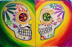 Come and paint this funky, romantic set of sugar skulls with your sweetheart! Perfect for an extra soulful date night!