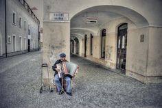Busker with Accordion - Žilina, Slovakia Print Magazine, Black And White Photography, My Eyes, Grey, Gallery, Image, Europe, Czech Republic, Black White Photography