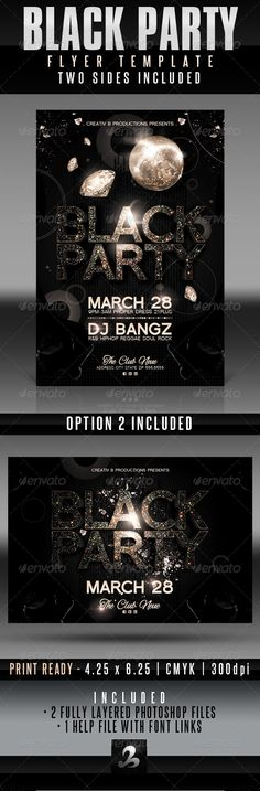 Black Party Flyer Templates #GraphicRiver Use this flyer and/or invitation for any black party, upscale party, birthday party, bachelor party, bachelorette party, wedding party or any nightclub event. Easily change all text and elements for a variety of