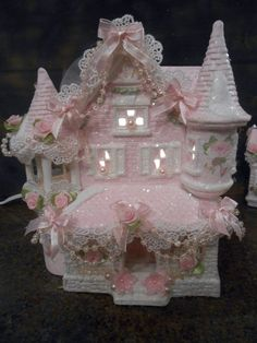 shabby pink victorian christmas village house  chic hp  roses glitter