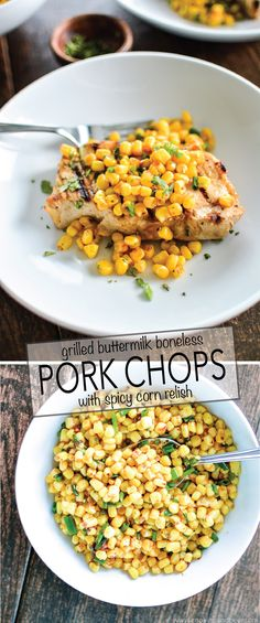 Grilled Buttermilk Boneless Pork Chops with Spicy Corn Relish by cookingandbeer #Pork_Chops #Corn #Grilling
