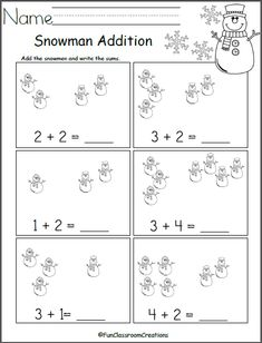 Free winter math worksheet for addition practice. Add the snowmen in each box and write the number. Find more winter math worksheets for Kindergarten and preschool by clicking on my shop.
