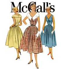 1950s Dress Pattern McCalls 9321 Bust 32 Portrait Collar Full Skirt Sleeveless Rockabilly Day Evening V Neck Womens Vintage Sewing Patterns