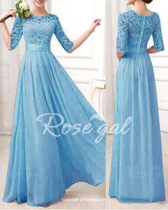 Sexy Round Neck 1/2 Sleeve Spliced See-Through Women's Dress Maxi Dresses | RoseGal.com Mobile