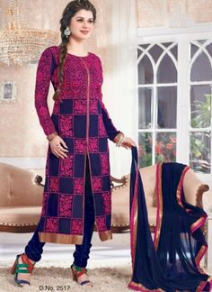 Beautiful Blue With Magenta Georgette Embroidery Work Churidar Suits