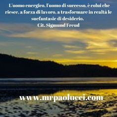 L'uomo energico, l'uomo di successo, è colui che riesce, a forza di lavoro, a trasformare in realtà le sue fantasie di desiderio. (Cit. Sigmund Freud)