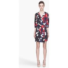 DIANE VON FURSTENBERG Red And Black Autumn Printed Wrap Dress ($445) ❤ liked on Polyvore