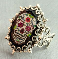 Sugar Skull Ring Halloween Ring Black Day of by ForTheCrossJewelry