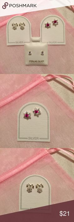 NEW 3-Pairs Toddler/Baby Sterling Silver Earrings NWT 3-Pairs Toddler/Baby Sterling Silver Post Earrings  Adorable baby girl's first earrings.   1)  Sterling Silver 6.5 mm Clear Rhinestone Flower with Red Rhinestone Center Post Earring  1)  Sterling Silver 3 mm Clear Rhinestone Post Earring   1)  Sterling Silver 8 mm H x 6.5 mm W Silver Bow with Clear Rhinestone Flower with Lavender Rhinestone Center  NEW 3-Pairs of earrings in a pink organza bag. Please refer to photos. Thank you for…