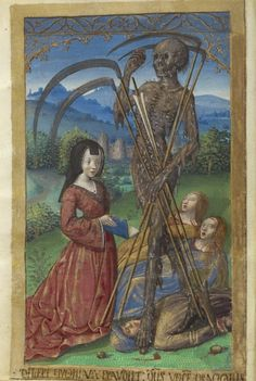 Master of the Chronique scandaleuse - Denise Poncher before a Vision of Death Art Print. Explore our collection of Master of the Chronique scandaleuse fine art prints, giclees, posters and hand crafted canvas products Memento Mori, Dance Of Death, Medieval World, Medieval Art, Medieval Times, Medieval Manuscript, Illuminated Manuscript, Hans Baldung Grien, La Danse Macabre